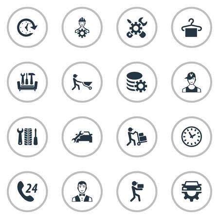 Vector illustratie Set van eenvoudige informatie iconen. Elementen Periode, Call Center, Car Workshop en andere synoniemenvraag, technicus en koerier. Stock Illustratie