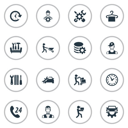 Vector Illustration Set Of Simple Information Icons. Elements Period, Call Center, Car Workshop And Other Synonyms Call, Technician And Courier.