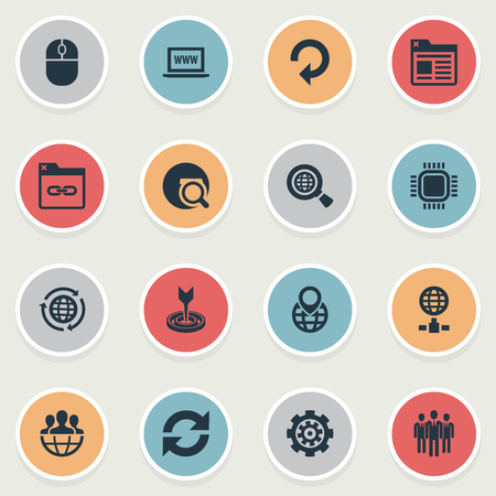 Vector Illustration Set Of Simple SEO Icons. Elements Linkage, Earth Planet, Reload And Other Synonyms Command, Link And Earth.