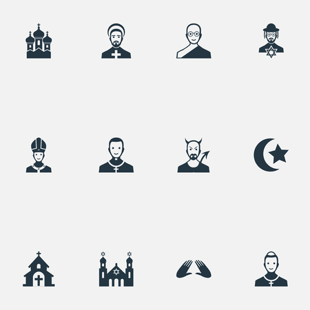 Vector Illustration Set Of Simple Faith Icons. Elements Temple, Catholic, Pater And Other Synonyms Judaic, Mohammedanism And Temple.