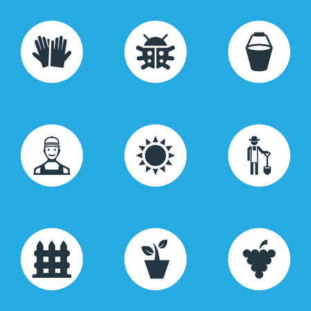 Vector Illustration Set Of Simple Horticulture Icons. Elements Flowerpot, Beetle, Plougher And Other Synonyms Shine, Garden And Flowerpot.