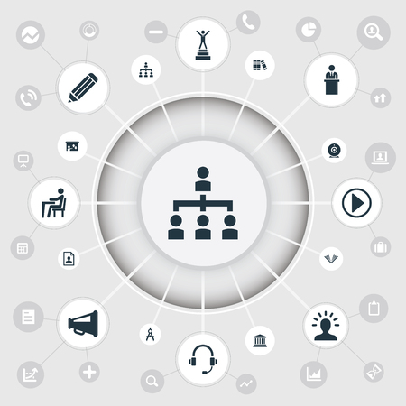 Vector Illustration Set Of Simple Conference Icons. Elements Success, Lecture, Literature And Other Synonyms Education, Structure And Teacher. Çizim