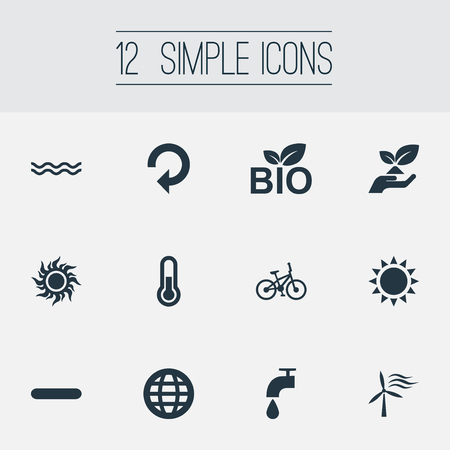 Vector Illustration Set Of Simple Power Icons. Elements Velocipede, Solar Energy, Windmill And Other Synonyms Food, Sun And Enviromental.