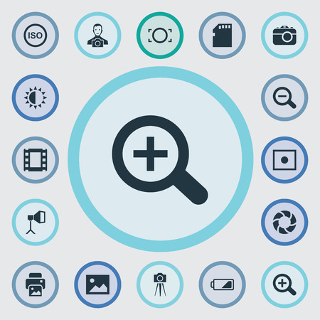 the bigger picture: Vector Illustration Set Of Simple Photographer Icons. Elements Light Level, Memory Card, Registration And Other Synonyms Micro, Camcorder And Brightness.