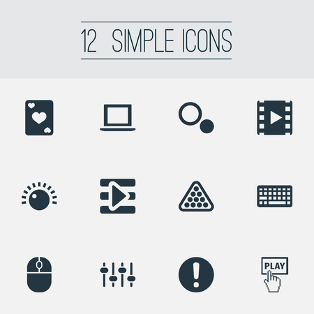 computerized: Vector Illustration Set Of Simple Play Icons. Elements Device, Mixer, Podcast And Other Synonyms Equalizer, Cards And Playlist.