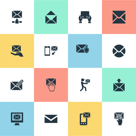 Vector Illustration Set Of Simple Mailing Icons. Elements Email, Choose, Defended And Other Synonyms Tablet, Mouse And Mail. Illustration