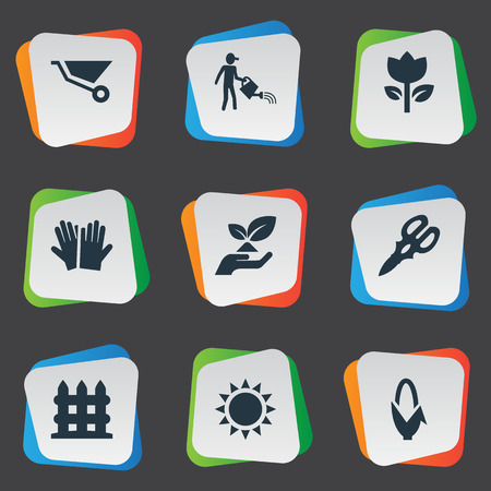 Vector Illustration Set Of Simple Gardening Icons. Elements Sunshine, Farmer, Shear And Other Synonyms Grower, Scissors And Rescue.