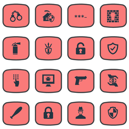 Vector Illustration Set Of Simple Secure Icons. Elements Virus, Handcuff, Password Synonyms Pistol, Home And Computer.