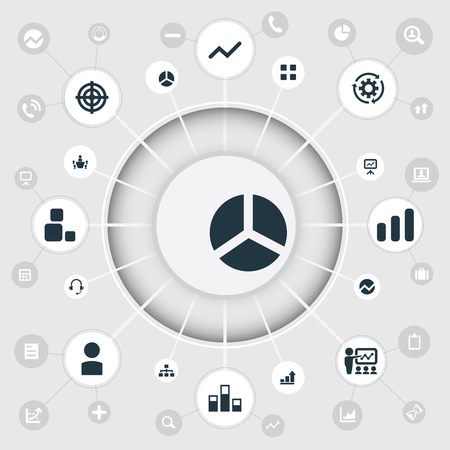 Vector Illustration Set Of Simple Seminar Icons. Elements Report, Increase, Process And Other Synonyms Board, Analytics And Seminar. 向量圖像