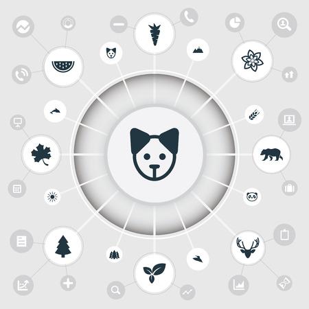 シンプルな自然アイコンのベクター イラスト セット。要素の植物、日光、鳥、他の同義語の穀物犬とハチドリ。