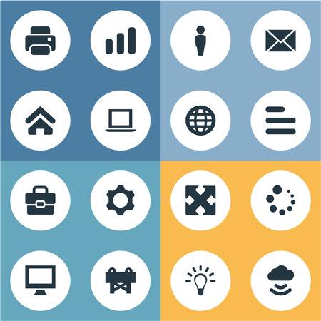 Vector illustratie Set van eenvoudige ontwerp pictogrammen. Elements Message, World, Laptop and Other Synoniemen Network, Lamp and Web. Stock Illustratie