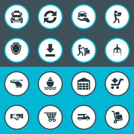 Vector Illustration Set Of Simple Engineering Icons. Elements Shield, Cycle, Transportation And Other Synonyms Aircraft, Baggage And Employee.