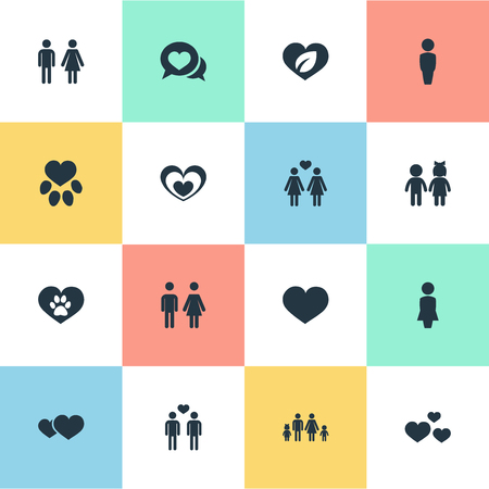 Vector Illustration Set Of Simple Valentine Icons. Elements Footprint, Couple, Hearts And Other Synonyms Family, Homosexual And Three.