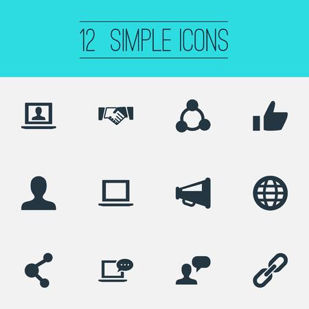 벡터 일러스트 레이 션 간단한 소셜 미디어 아이콘의 집합입니다. 요소 확성기, 체인, 채팅 및 다른 동의어 투표, 글로벌 및 악수입니다. 일러스트