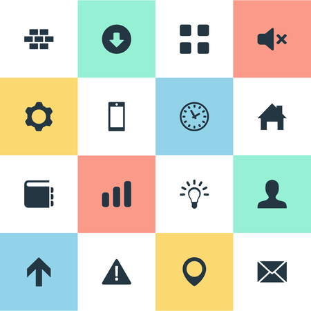 Vector Illustration Set Of Simple Web Icons. Elements Smartphone, Grid, Notepad And Other Synonyms Wall, Section And Up. Ilustração