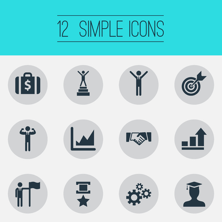 Vector Illustration Set Of Simple Success Icons. Elements Military Medal, Growth Chart, Successful Person And Other Synonyms Successfull, Forecast And Briefcase.