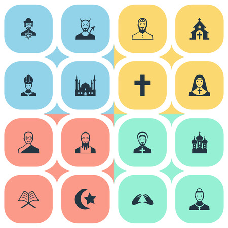 Vector Illustration Set Of Simple Faith Icons. Elements Chaplain, Chapel, Jewish Clergy And Other Synonyms Man, Crucifix And Priestess.