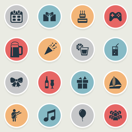 Vector Illustration Set Of Simple Celebration Icons. Elements Confetti, Tone, Wine And Other Synonyms Cake, Straw And Lemon.