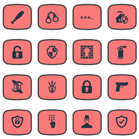 Vector Illustration Set Of Simple Secure Icons. Elements Penitentiary, Inspector, Handcuff Synonyms Locked, Okay And Hand. Çizim