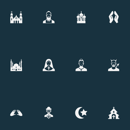 Vector Illustration Set Of Simple Faith Icons. Elements Mohammedanism, Orison, Taoism And Other Synonyms Lucifer, Invocation And Church. Ilustracja