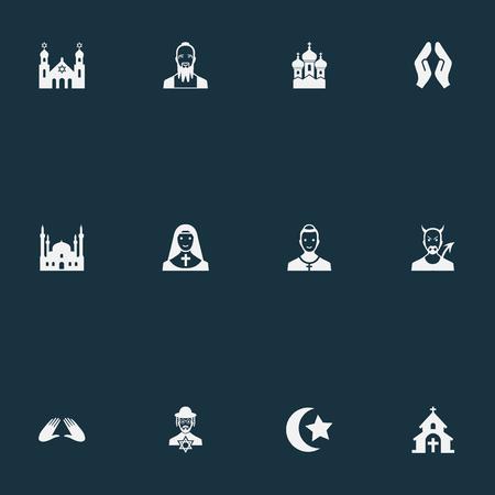 Vectorillustratiereeks Eenvoudige Geloofspictogrammen. Elementen Mohammedanisme, Orison, Taoïsme en andere synoniemen Lucifer, Invocatie en kerk.