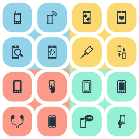 Vector Illustration Set Of Simple Smartphone Icons. Elements Monitor, Soul On Phone, Display And Other Synonyms Hand, Camera And Telephone. Illustration