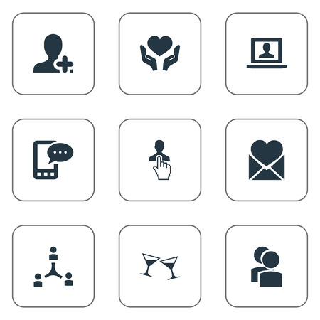 Vector Illustration Set Of Simple Fellows Icons. Elements Online Talking , Mail With Heart , Heart In Hand Synonyms Heart, Choice And Collaboration. Ilustração