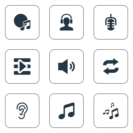 Vector Illustration Set Of Simple  Icons. Elements Speech, Mix, Album And Other Synonyms Track, Radio And Megaphone.