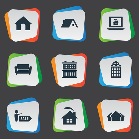 Vector Illustration Set Of Simple Real Icons. Elements Doghouse, Glass Tower, Residential And Other Synonyms Cabin, Hut And Skyscraper. Ilustração