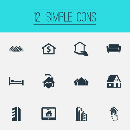 Vector Illustration Set Of Simple Property Icons. Elements High-Rise, Residence, Capital And Other Synonyms Hotel, Residental And Residence.