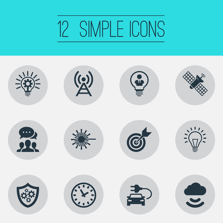 Vector Illustration Set Of Simple Creativity Icons. Elements Hybrid Auto, Time, Sputnik And Other Synonyms Time, Clock And Lamp.