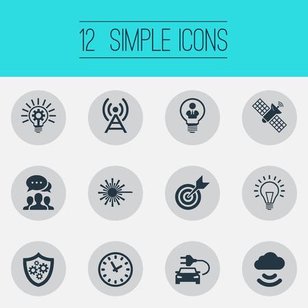 Vectorillustratiereeks Eenvoudige Creativiteitpictogrammen. Elementen Hybride auto, tijd, spoetnik en andere synoniemen Tijd, klok en lamp. Stock Illustratie