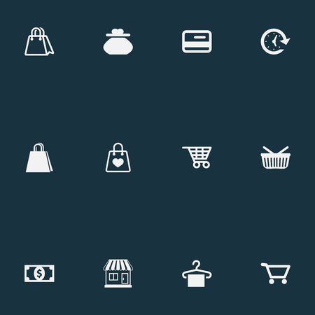 gift basket: Vector Illustration Set Of Simple Money Icons. Elements Grocery, E-Commerece, Female Wallet And Other Synonyms Local, Grocery And Paper. Illustration