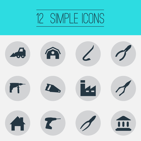 Vector Illustration Set Of Simple Industrial Icons. Elements Drill, Electric Screwdriver, Handsaw Synonyms Nippers, Repair And Saw.