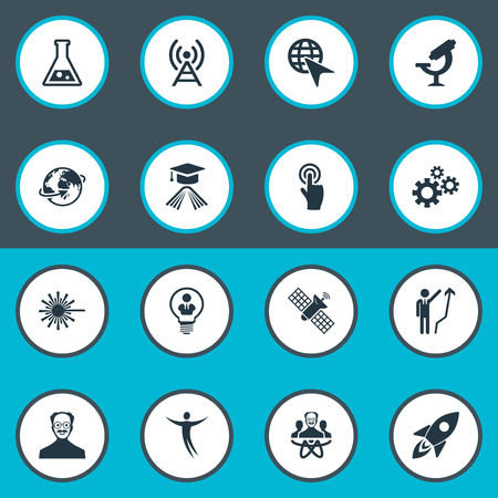 Vector Illustration Set Of Simple Solution Icons. Elements Machinery, Optical Instrument, Invention And Other Synonyms Invention, Scholar And Businessman. Illustration