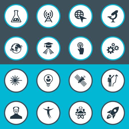 Vectorillustratiereeks Eenvoudige Oplossingspictogrammen. Elementen machines, optisch instrument, uitvinding en andere synoniemen-uitvinding, geleerde en zakenman.