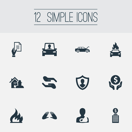 Vector Illustration Set Of Simple Safeguard Icons. Elements Property Break-In, Investment, Maintenance And Other Synonyms Hand, Protect And Maintenance.