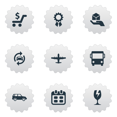Vector Illustration Set Of Simple Delivery Icons. Elements Reward, Autobus, Web Trading And Other Synonyms Glass, Refresh And Medallion.
