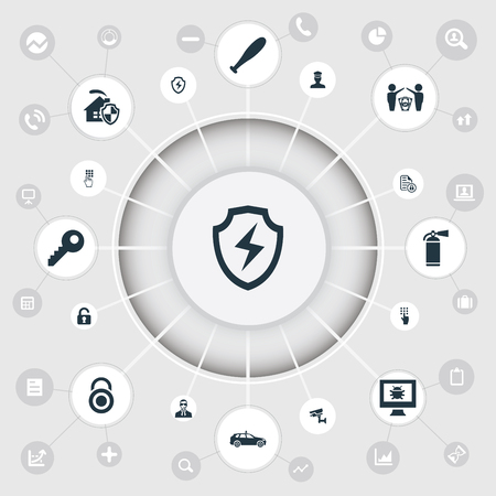 Vector Illustration Set Of Simple Secure Icons. Elements Tracking Camera, Bodyguard, Conservation And Other Synonyms Car, Virus And Man.