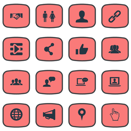 Vector Illustration Set Of Simple Media Icons. Elements Vote, World, Team And Other Synonyms Unity, Pointer And Publication.
