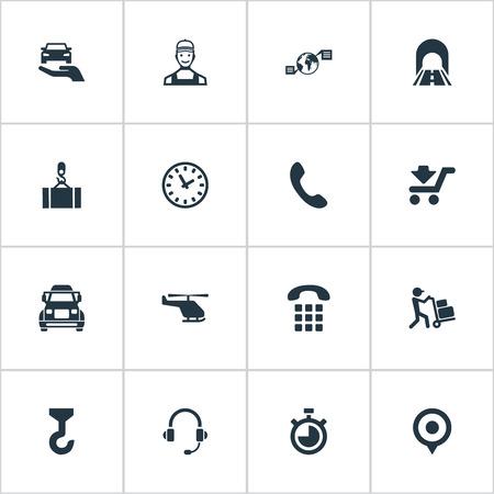 Ilustración vectorial Conjunto de iconos de ingeniería simple. Elementos Camino, Mensajero, Cuenta Regresiva Y Otros Sinónimos Máquina, Cronómetro Y Carretera. Foto de archivo - 82342637