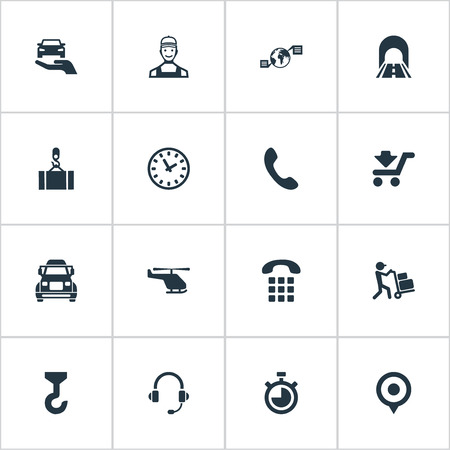 Vector Illustration Set Of Simple Engineering Icons. Elements Road, Courier, Countdown And Other Synonyms Machine, Stopwatch And Highway.