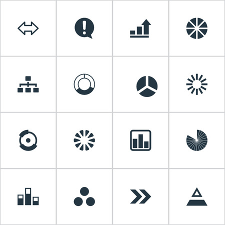 Vector Illustration Set Of Simple  Icons. Elements Circuit, Segmentation, Data And Other Synonyms Marketing, Report And Exclamation. Illustration