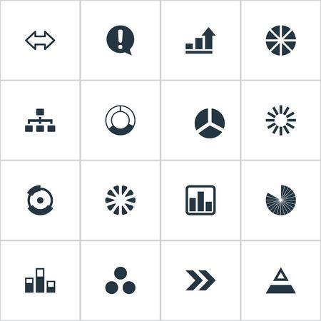 Vector illustratie Set van eenvoudige pictogrammen. Elementen Circuit, Segmentatie, Data en andere synoniemen Marketing, rapport en uitroep.