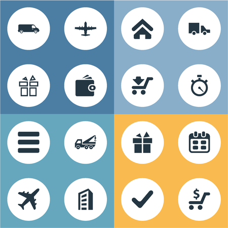 Vector Illustration Set Of Simple Carting Icons. Elements Van, Complete, List And Other Synonyms Stopwatch, Trolley And Aviation.