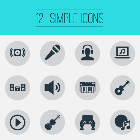 Vector Illustration Set Of Simple Melody Icons. Elements Strings, Podcast, Album And Other Synonyms Track, Amusement And Sound.