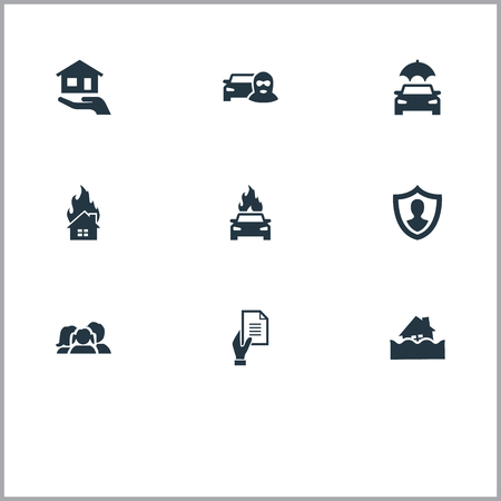 Vector Illustration Set Of Simple Insurance Icons. Elements Estate, Car Thief, Protect Yourself And Other Synonyms Human, Insurance And Family.