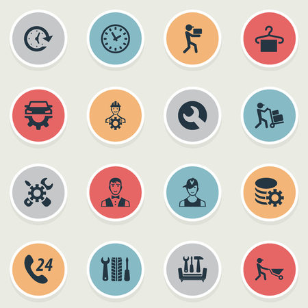Vector Illustration Set Of Simple Support Icons. Elements Technician, Period, Restaurant  Staff And Other Synonyms Period, Builder And Engineer. Illustration