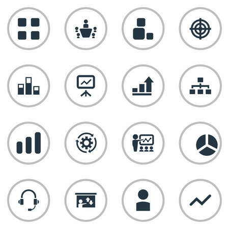 Vector Illustration Set Of Simple Seminar Icons. Elements Construction, Presentation, Hierarchy And Other Synonyms Vector, Organisation And Headset.