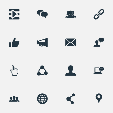 associative: Vector Illustration Set Of Simple Social Media Icons. Elements Profile, Team, Chat And Other Synonyms Point, Letter And User.
